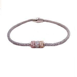 Savvy Cie Tri-Tone Italian Mesh Rondelle Bracelet